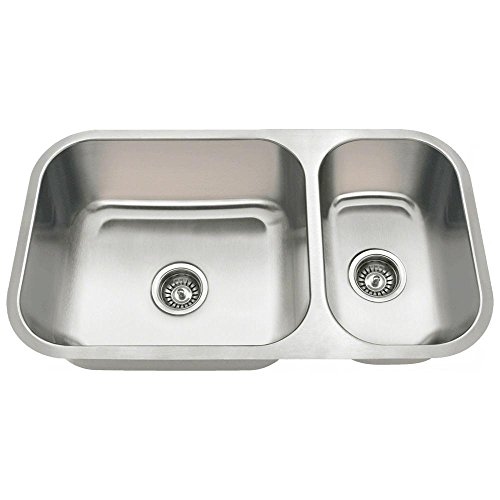 3218B 18-Gauge Undermount Offset Double Bowl Stainless Steel Kitchen Sink