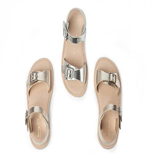 ZGSX sandalias de las muchachas suaves laterales de velcro inferior sandalias de la hebilla de plata hebilla de oro Plata