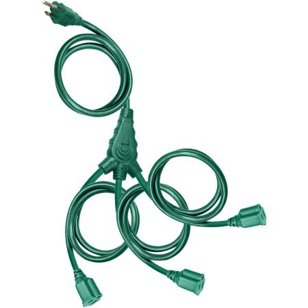 Holiday Time Christmas Lights 25' Cord 3-Outlet Outdoor Multi-Directional Extension Cord ()