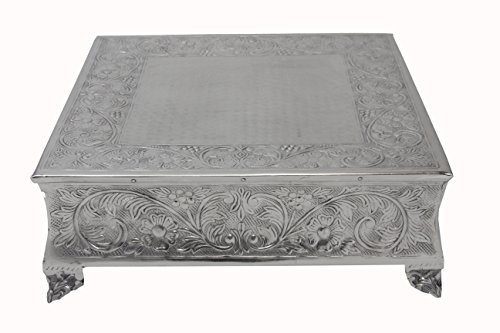 1-12S Wedding Square Cake Stand, 12-Inch, Silver ()