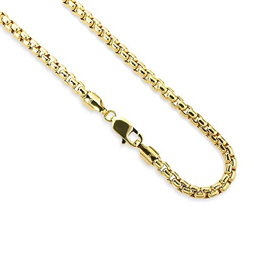 14K Yellow Gold 2.5mm Round Box Chain Necklace - Multiple Lengths Available- 14 Karat Gold
