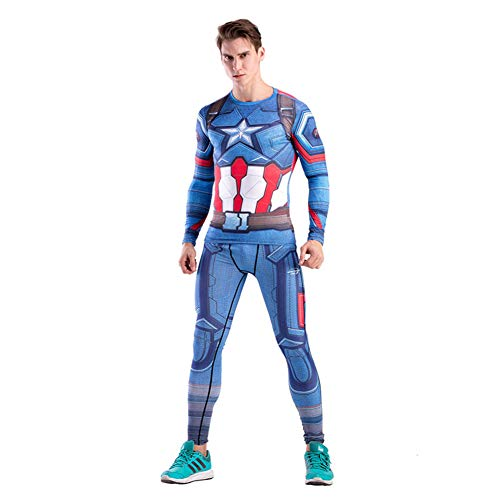 Fashion Design Captain America Suit T Shirt Pants for Cosplay Costume M