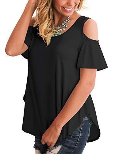 (Summer T Shirts Women Stylish Comfy Tunic Tops Cold Shoulder Chic Sides Split Black XL)