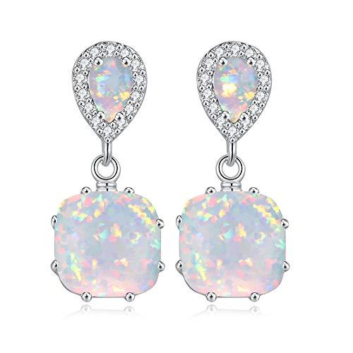 CiNily Opal Dangle Earrings- Gemstone Drop Earring Silver Plated White Fire Opal Zircon Women Gifts Gemstone Stud Earrings