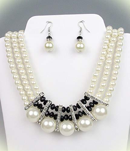 - Exquisite Triple Strands Creme Pearls Black Crystals Necklace Set Bridal Diva For Women