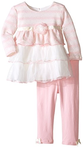 Bonnie Baby Baby Girls' Tiered Dress and Legging Set, Stripes, 18 Moths