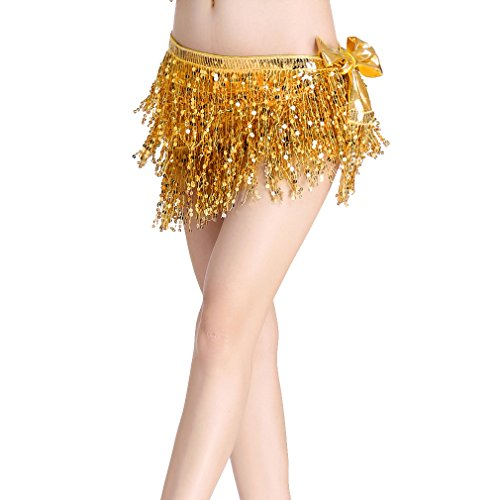 ZLTdream Women's Belly Dance Hip Scarf with Three Rows of Sequins Fringe Gold