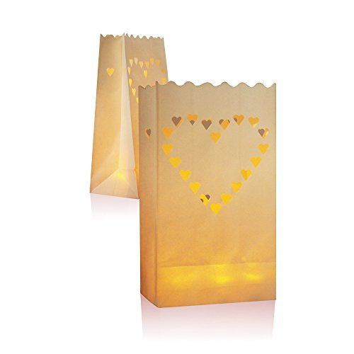 30 Packs Luminary Paper Lantern, Candle Tealight Tea Light Bag Bags - Flame Resistant Paper for BQQ Party Wedding Reception Party and Event Decor