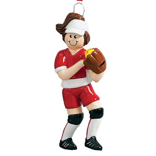 Personalized Softball Girl Christmas Tree Ornament 2019 - Brown Hair Athlete Stick Score Mush-Ball Kitten Ladies College Player Hobby School Profession Mitt Year - Free Customization (Brunette)