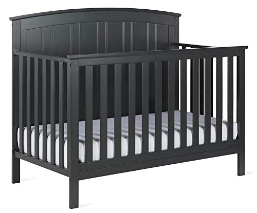 Baby Relax Colton 5 in 1 Convertible Wood Crib with Toddler Bed Conversion, Slate Gray - Panel Convertible Crib Set