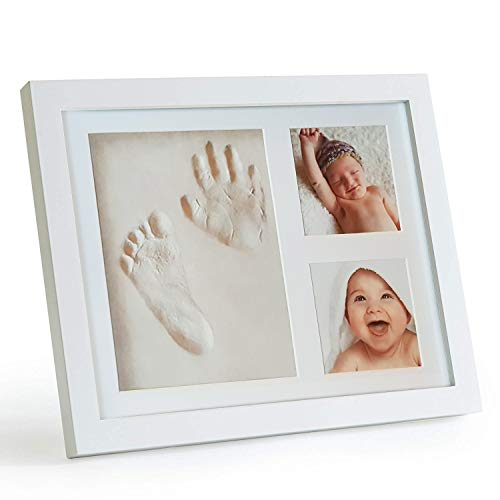 (Baby Handprint and Footprint Picture Frame Kit by ZaniFlip - Personalized Shower Party Gift - Newborn Girl or Boy diy photos imprint keepsake set - Glass Cover, White Wooden Framing)