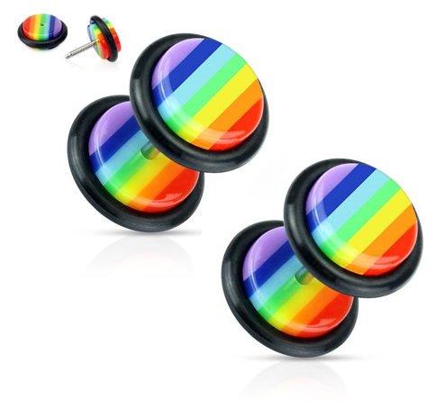 Rainbow Striped Gay Pride Fake Cheater Plugs Earrings - 16g - Pair ()