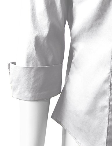 ELF FASHION Roll up 3/4 Sleeve Button Down Shirt for Womens Made in USA (Size S~3XL) White 3XL by ELF FASHION (Image #4)