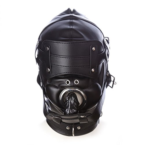 FeiGu Black Leather Bondage Gimp Mask Head Hood with 2 Nose Holes T6