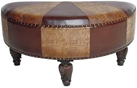 Pemberly Row Faux Leather Half Moon Ottoman