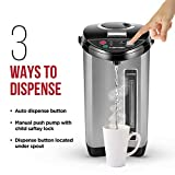 Chefman Electric Hot Water Pot Urn w/ Auto & Manual Dispense Buttons, Safety Lock, Instant Heating for Coffee & Tea, Auto-Shutoff/Boil Dry Protection, Insulated Stainless Steel, 5.3L/5.6 Qt/30+ Cups