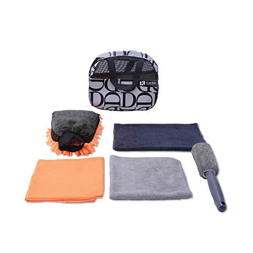YUKING Car Wash Kit Car Wash Mitt Chenille Dual,Microfiber Towel Kit,Sponge Wheel Brush, Interior,Exterior Car Cleaning Kit,Car Detailing Kit 5 Pack