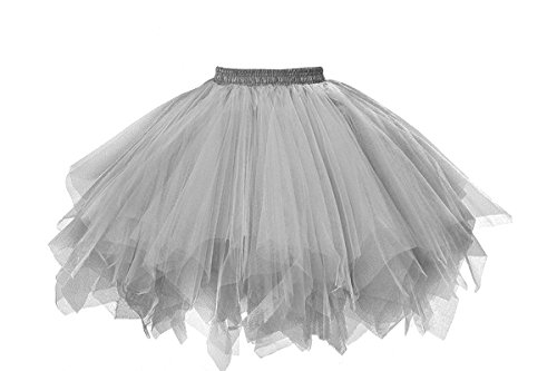 Musever 1950s Vintage Ballet Bubble Skirt Tulle Petticoat Puffy Tutu Silver Small/Medium -
