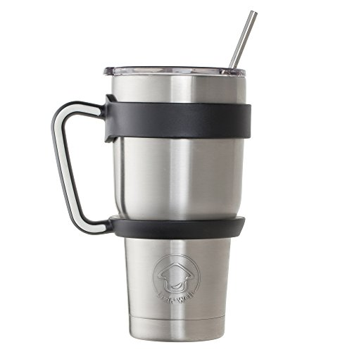 Livin' Well Tumbler Rambler Mug | 30oz Stainless Steel Tumbler Set Includes Handle, Lid and Straws | Double Walled and Vacuum Sealed - BLACK