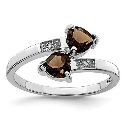 - Size 7 Solid 925 Sterling Silver Brown Smoky Simulated Quartz & Diamond Heart Ring (2mm)