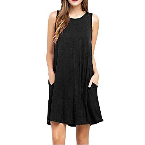 Vovotrade Mujer verano informal sin mangas por encima de la rodilla vestido