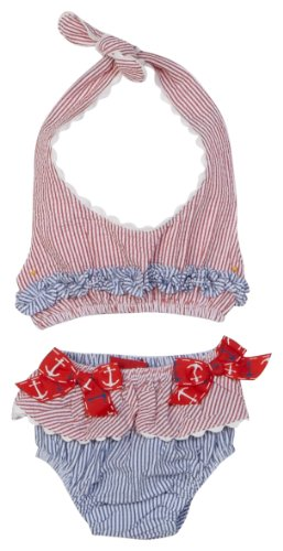 Mud Pie Baby Boathouse Seersucker Bikini, Nautical, 0 6 Months