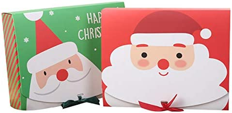 Christmas Paper Bags,Christmas Paper Gift Candy Treat Bags Merry Christmas Candy Box Bag Christmas Santa Snowman Gift Box Paper Box Gift Bag Container Supplie(5 Red, 5 Green,10 Pieces)