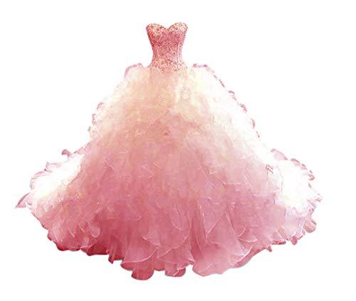 AVOPA Women Luxury Ball Gown Wedding Dresses Beaded Sweetheart Organza Train Evening Gown