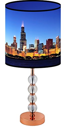 LampPix 22.5 Inch Custom Printed Table Desk Lamp Shade Chicago