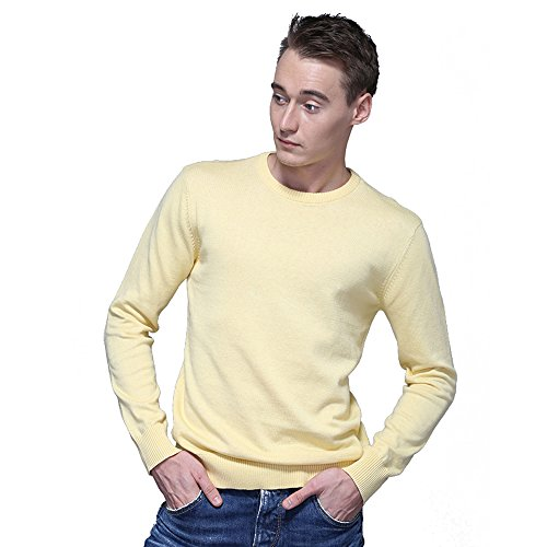 FASHIONMIA Mens Casual Solid Slim Fit Sweater Pullover Yellow M by FASHIONMIA