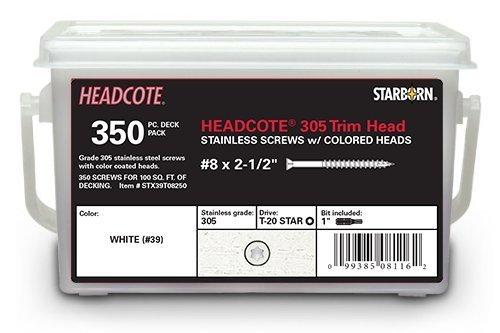 Headcote Trim Screws - #8 x 2-1/2'' - #39 White- 305 Stainless Steel - 350 Pc Deck Pack - STAR DRIVE