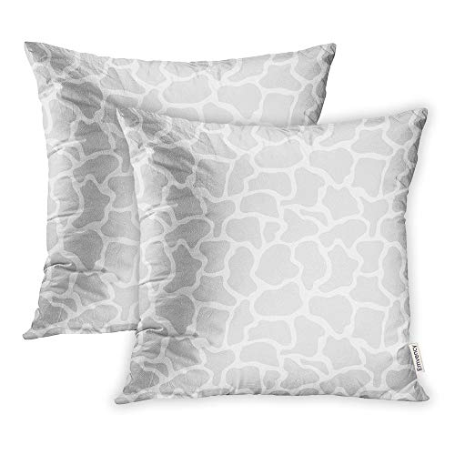 Emvency Pack of 2 Throw Pillow Covers Print Polyester Zippered Pillowcase Gray Africa Giraffe Light Grey Abstract Safari Collection African Animal Blot 16x16 Square Decor for Home Bed Couch Sofa ()