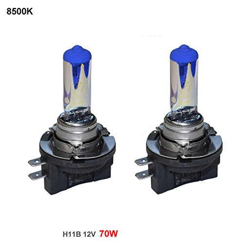 GP Thunder GP85-H11B Blue White H11B 12V 70W Halogen Xenon Bulb with Quartz Glass (High Wattage 8500K White+Blue 2 Bulbs)