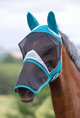 Shires Fine Mesh Horse Equine Fly Mask with Ears and Detachable Nose 60% UV Protection (Cob, Teal)