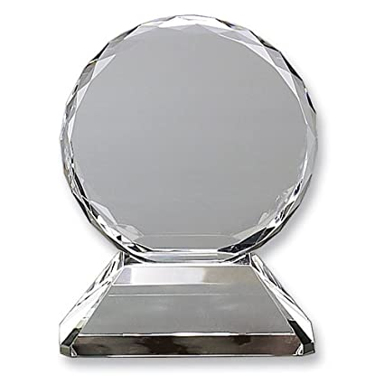 Amazon Com Round Optic Glass Trophy On Base Etching Personalized