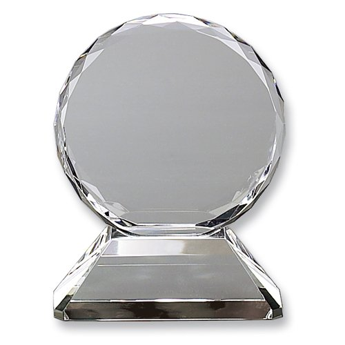 Round Optic Glass Trophy on Base - Etching Personalized Gift Item Home Garden Living -