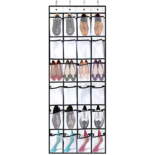 "WindBreath 24-Pocket Over The Door Shoe Organizer, Hanging Mesh Storage 21.7"" x 59.1"", White"