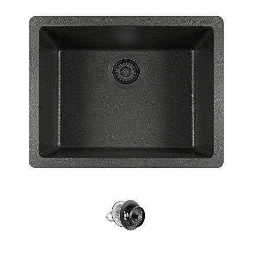(808 Dual-mount Single Bowl Quartz Kitchen Sink, Black, Colored Strainer)