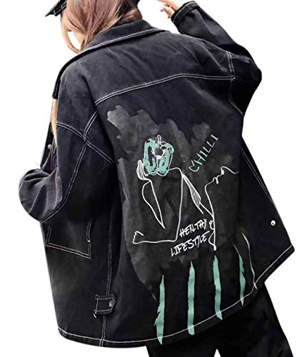 YESNO WZL Women Fashion Casual Denim Cropped Jacket Cute Cartoon Print Turn-Down Collar Long Sleeve/Pockets
