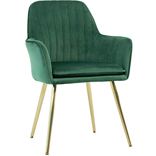 GOLDEN BEACH Elegant Velvet Dinning Chair Mid-Back Support Accent Arm Chair Modern Leisure Upholstered Chair with Gold Plating Legs (Dark Green) (Arms Dining Upholstered With Chairs)