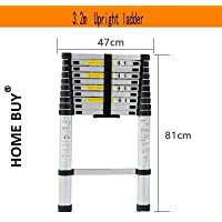 HOME BUY Advanced Aluminium Alloy Telescopic Ladder (3.2 m Extended and 80 cm Closed, Silver)