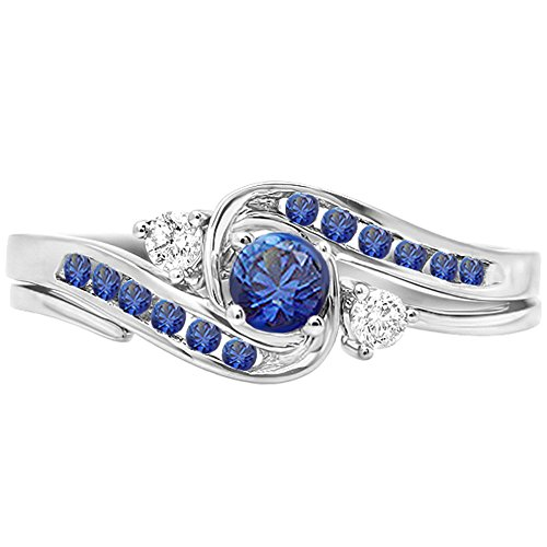 Dazzlingrock Collection 0.50 Carat (ctw) 10K Blue Sapphire & White Diamond Engagement Ring Band Set 1/2 CT, White Gold, Size 10