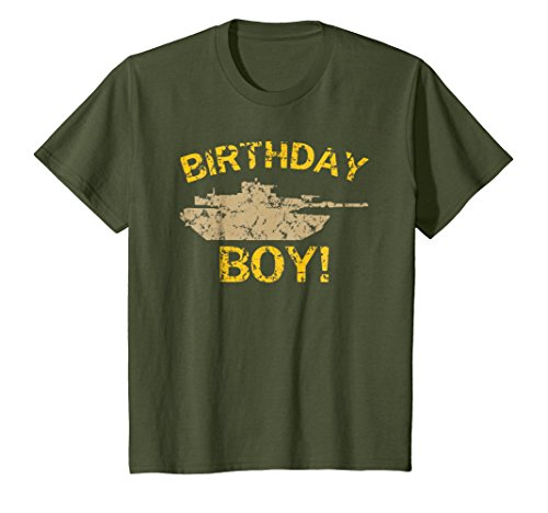 Price comparison product image Kids Birthday Boy Military Tank T-Shirt 4 Olive
