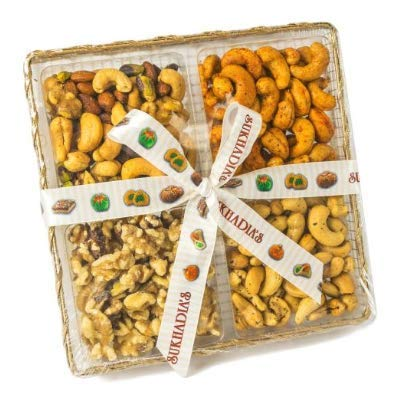 Sukhadia's Indian Sweets, Assorted Nuts & Bites in Wire Mesh Tray, 20oz (Best Indian Sweets In Usa)