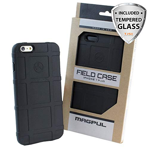 TJS iPhone 7 Case, iPhone 8 Case [Tempered Glass Screen Protector], Magpul [Field] MAG845 Polymer Case Cover Retail Packaging for Apple iPhone 7/iPhone 8 4.7 inch (Black)