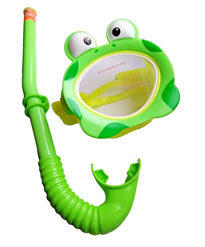 (UJS Froggy Fun Swimming Set - Underwater Mask with Easy Adjustable Strap & Snorkel with Flexible Silicone Mouthpiece, Premium Snorkeling Combo Set for Kids, Intex 55940)