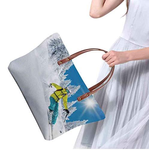 Custom Handbag Tote Shopping Bags freeride in fresh powder snow skiing Printing Tote Bag Nylon Size:19.2