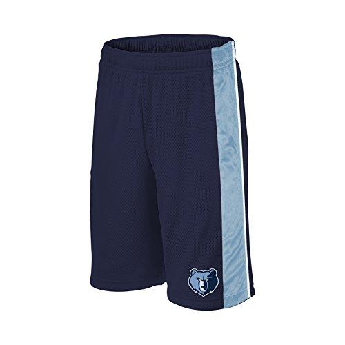 NBA Memphis Grizzlies Children Unisex NBA Youth bar Stripe Poly Shorts,L,Navy/Coast Blue/White