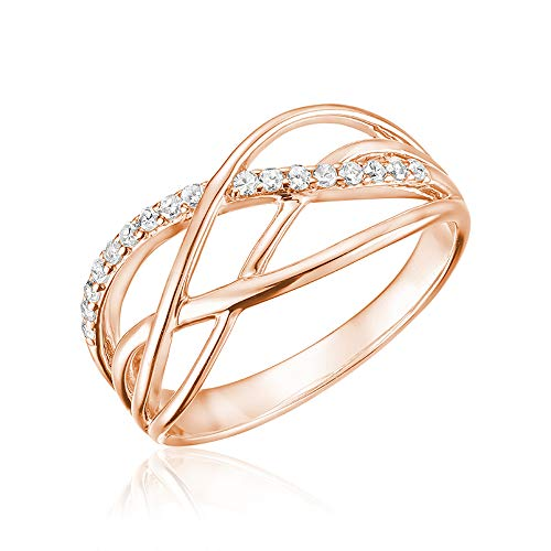 (Jewels By Erika R-LM08 10K Gold Diamond Swirl Ring (Rose-Gold, 10))