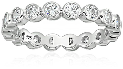 Set Bezel Plated - Platinum-Plated Sterling Silver Swarovski Zirconia Round Bezel set All-Around Band Ring, Size 6